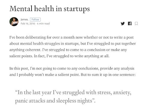 mental health in startups - Medium post